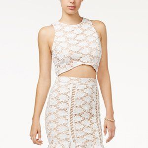Endless Rose White and Cream Crochet Lace Crop Top